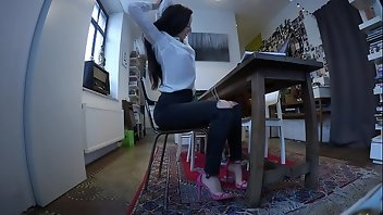 Jeans Brunette Office Secretary