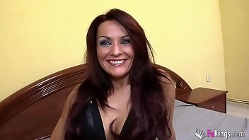 Rubber Dildo European Brunette